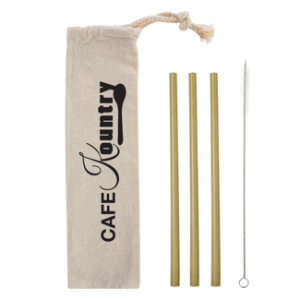 Bamboo Straw Kit in Cotton Pouch