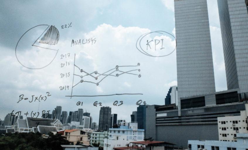 A glass drawing board analyzing KPIs.