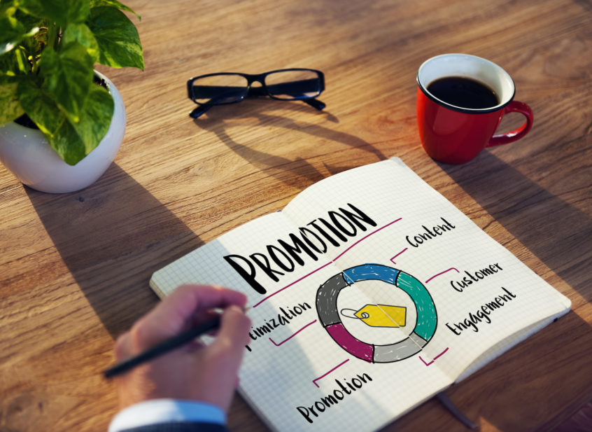 Concept imagine of developing a promotional product marketing strategy.